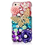 EVTECH(TM) for Iphone 5C 3D Handmade Bling Crystal Golden Butterfly and Colorful Flowers Rhinestone Diamond Hard Case Cover(100% Handcrafted)