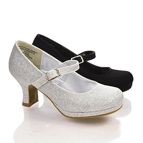 Queeniis Silver Children'S Round Toe Mary Jane Low Platform Dress Heels-2 front-223754