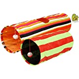 Best Rated Collapsible Cat Tunnel Toys (2-Pack) [70% OFF Labor Day Sales!] - The Best Cat Toy With Crinkle Peep Hole Design For Interactive Play by Pet Magasin [2-Year Warranty & 100% Money Back Guarantee]