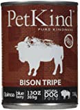 PetKind Grain-Free All Natural Dog Food, 13 oz cans (Pack of 12), Bison Tripe
