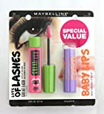 Maybelline GREAT LASH Mascara Very Black 141 & FREE BABY LIPS Moisturising Lip Balm Peach Kiss 30