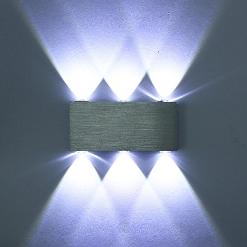 Lightess Lampada da Parete, Moderna Applique in Alluminio, 6-LED Up Down-6W Lampada da Parete per Soggiorno, Camera da Letto Bianco Freddo