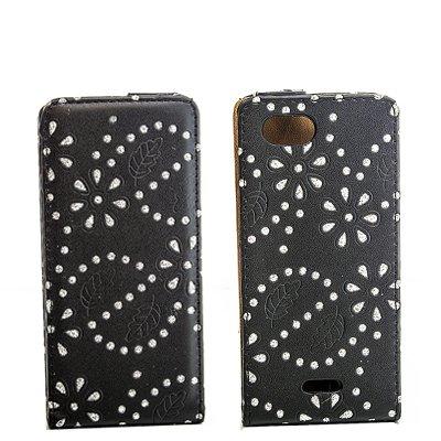 Luxus Flipcase Handy Tasche für Sony Xperia J / ST26i Schwarz Glitzer Bling Schutz Hülle Etui Bag Cover Flip Style Case Leder Klapptasche NEU