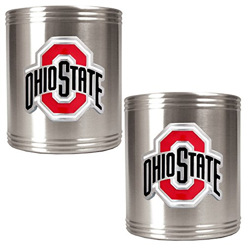 Ncaa Ohio State Buckeyes Two Piece Stainless Steel Can Holder Set back-596008