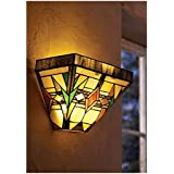 Tiffany Glass Artistic Wall Sconce Lighting - Wireless - Arts And Crafts