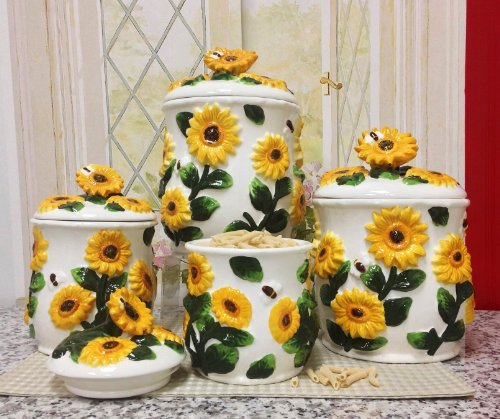 Kitchen Canisters,4Pc Canisters Sunflower back-338851