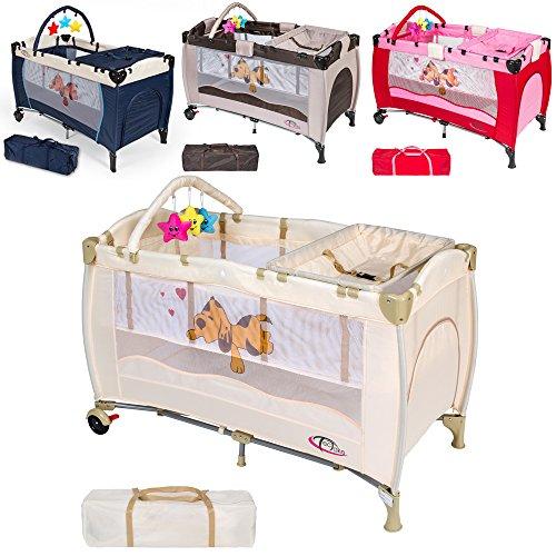 TecTake Culla lettino da viaggio regolabile in altezza bebé box - disponibile in diversi colori - (Beige)