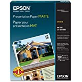 Epson Presentation Paper Matte, 8.5 x 11 Inches, 100 Sheets (S041062)