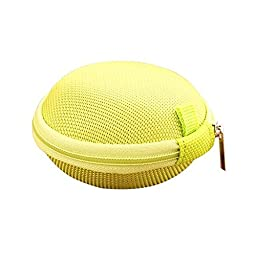 Happy- Simple solid buns headphone cable storage box Storage bag, 8.3cm (diameter) × 4.3cm (thickness) ( Color : Yellow )