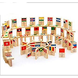 100-Piece National Flag Wooden Knowledge Domino Toys