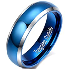 buy Mens Womens 6Mm Blue Tungsten Carbide Thin Wedding Ring Engagement Promise Band For Him And Her Domed Design Comfort Fit