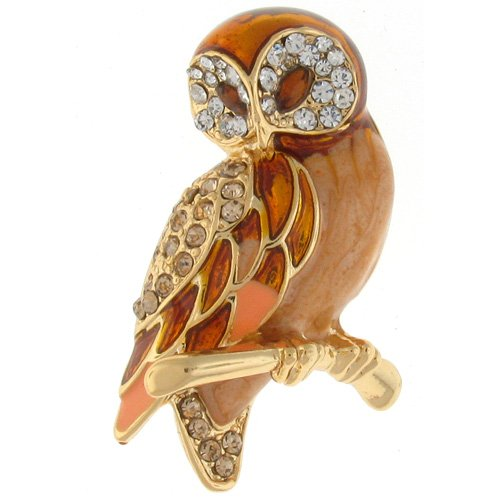 Owl Jewelry - Gold Enamel and Crystal Wise Owl Brooch