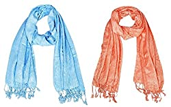 Letz Dezine Viscose Scarf Set of Two mullticoloured stoles; Scarf and Stoles for Women