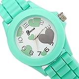Sotijobs Boys Girls Fashion Cute Heart Shape Analog Wrist Watch Mint Green