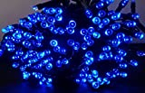 LEDソーラーイルミネーション太陽発電200球9色点灯8パターン防雨屋外クリスマスイルミ自動ON/OFF(ブルー)