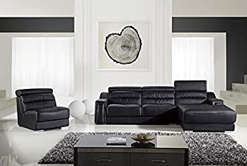 3pc Modern Contemporary Adjustable Sectional Leather Sofa Set - AM-L678-BK