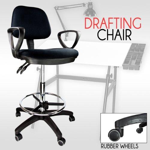 Drafting Chair Stool Armrest Ergonomic Black Adjustable Footring Arm Bank Off