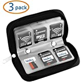Memory Card Case, WOVTE® Portable 8 Pages and 22 Slots SD SDHC MMC CF Micro SD Memory Card Case Holder Pouch Zippered Storage Bag (Black) - 3 Pack