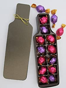 Christmas Gift, Stocking Stuffer Wine Bottle Shaped Gift Box With Bow With Premium Specialty Individually Wrapped Filled Chocolate Candies - Godiva Assortment