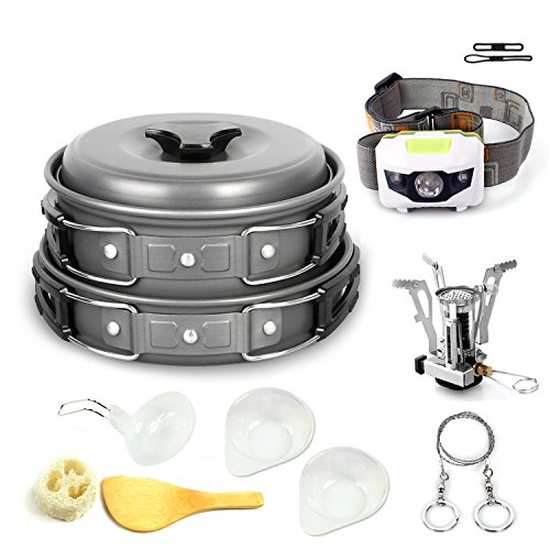 Unigear Outdoor Camping Cookware, Ultra 13-in-1 Kits Portable Hiking Travel Backpacking Non-stick Cooking Ware Pot Pan Set Includes Bonus Stainless Steel Wire Saw, Camping Stoves, Headlamp Headlight