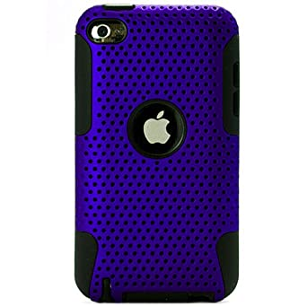 Dual Protection Back Cover Case with Black Skin for Ipod Touch 4 (Blue)