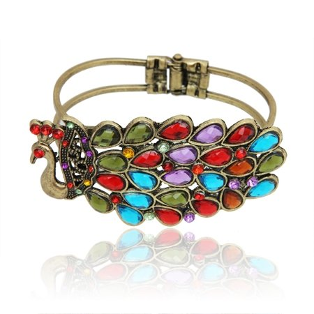 MizEllie Costume Jewellery The Brightest Peacock Vintage Multicoloured Gold Tone Hinged Bangle Bracelet,Can Make An Ideal Gift With Free Elegant Organza Jewellery Pouch