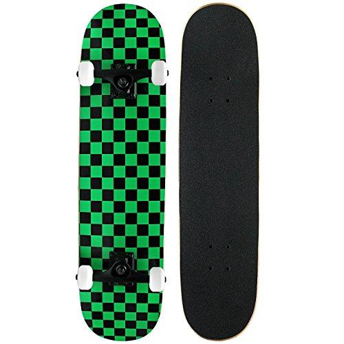 PRO Skateboard Complete Pre-Built CHECKER PATTERN 7.75 in Black/Green