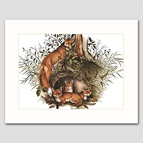 fox-art-w-mat-rustic-woodland-wall-decor-animal-artwork-family-tree-vintage-matted-print