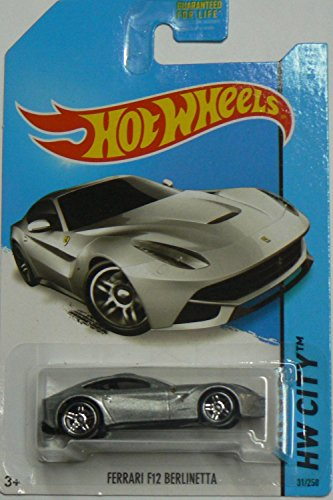 2014 Hot Wheels Hw City 31/250 - Ferrari F12 Berlinetta - Silver - 1