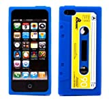 COCO FUN New Classic Cassette Tape Silicone Soft Back Skin Case Cover Protector For iPhone 5 5G + Clear Flim Screen Protector, Dark Blue