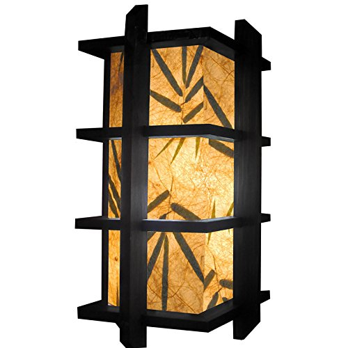 """Fai 15"""" 3-Tiered Bamboo Leaf Paper Mache Shade Oriental Lamp With Wood Frame"""