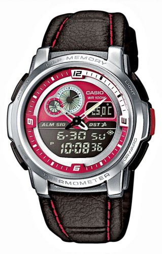 Casio AQF-102WL-4BVEF Men's Analog and Digital Quartz Multifunction Watch with Leather Strap