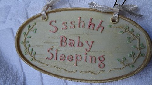 "Russ Precious Keepsakes ""Ssshhh Baby Sleeping"" Plaque Pink"