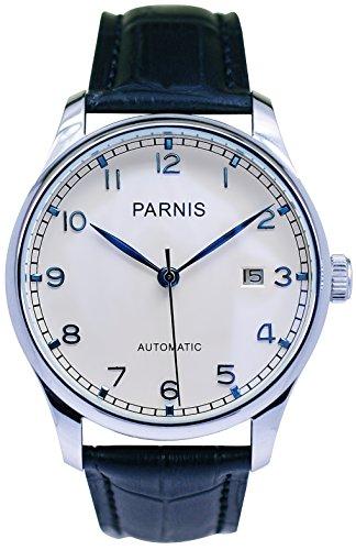 PARNIS Automatik Herrenuhr Modell 2046, Edelstahlgehäuse, Ø 42mm, Lederarmband, SeaGull-Uhrwerk mit automatischem Aufzug