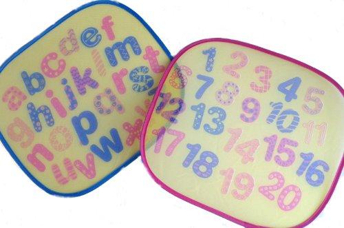 First Steps Bedruckter Auto-Sonnenschutz mit Buchstaben/ABC, für Kinder, 2Stück