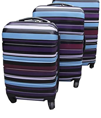 Set of 3 Super Lightweight Hard Plastic Blue Stripe Luggage Trolley Suitcases Wheels from KD & Jay