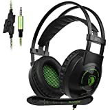 Sades SA801 XboxOne Gaming headset New Version Over-Ear Stereo Gaming Headset with Microphone Noise Isolation for PC Mac Tablets PS4 Laptop Phone(BlackGreen) (Color: SA801-BLACK)