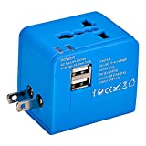 Mudder® US UK EU AU Universal All In One International Travel Power Plug Adapter Charger With 2 Port 1A USB for Cell Phone (Blue)