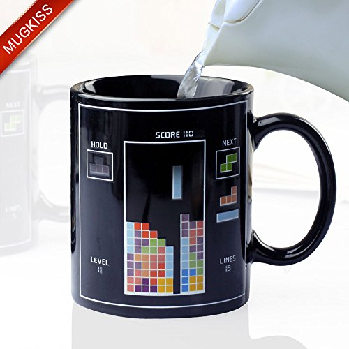 Mugkiss 12 Ounce Toy Bricks Tetris Heat Sensitive Color Changing Coffee Mug