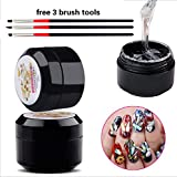 Nail Art 8ml Rhinestone Glue Gel Adhesive Resin Gem Jewelry Diamond Polish Clear Decoration With Pen Tools (UV Light Cure Needed) Thicker&More Sticky than Others By GADGETS ENTREPOT (Color: 8ml)