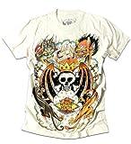 SHIROINEKO(シロイネコ)ムラ染めウォッシュ加工スタッズウイングスカルキング&ドラゴンプリントTシャツ