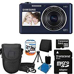 Samsung DV150F 16.2MP Smart WiFi Digital Camera with 5x Optical Zoom and 2-Inch front and 3-Inch Rear Dual LCD Screen + Leather Compact Case + Table Top Tripod + Camera & Lens 3 Piece Cleaning Kit With 8 GB micro Top Deluxe Accessory Kit