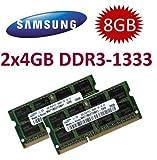 8GB Dual Channel Kit 2x 4 GB SAMSUNG Original 204 pin DDR3-1333 PC3-10600 CL9 SO-DIMM für aktuelle DDR3 i5 + i7 Notebooks mit DDR3-1333Mhz Unterstützung