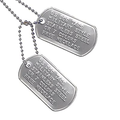 Custom US Military Dog Tag Personalized ID Set. Complete with Chains and Silencers.