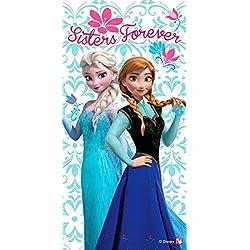 """Telo Mare FROZEN """"Sisters Forever"""" Asciugamano spiaggia in Cotone spugna 70x140 Anna e Elsa"""