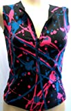 Mosquitohead Women's SPLATTER PRINT SLEEVELESS ZIPPER VEST