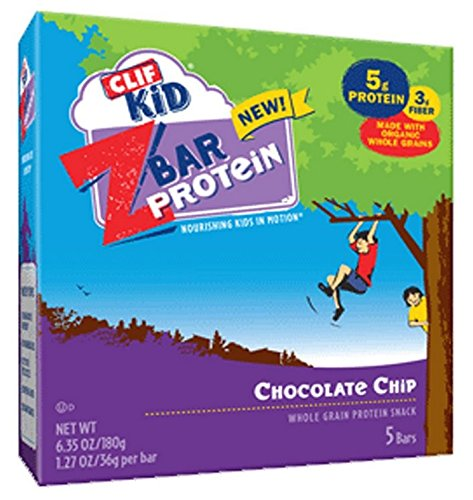 Clif Kid Z Bar Protein Chocolate Chip 5 Bars/box (4 Boxes, 20 Bars Total)