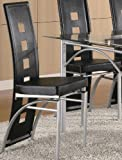 Set of 2 Dining Chairs Black Leather Like Picture