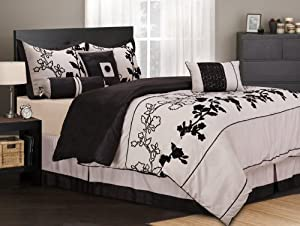 11 Piece King Rene Black and Beige Bed in a Bag Set