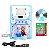 Disney Frozen Cd/cdg Player Karaoke Machine with Christmas Song Pack & 2 Mics System